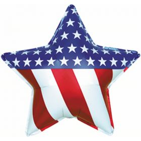31 inch Patriotic Star Shape Foil Balloon