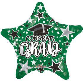 18 inch Congrats GRAD Star Foil Balloon - Green