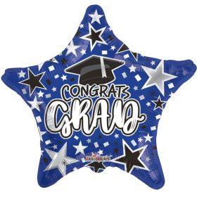 18 inch Congrats GRAD Star Foil Balloon - Blue