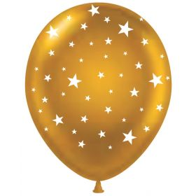 11 inch Stars All-Around Gold Latex Balloons - 50 count