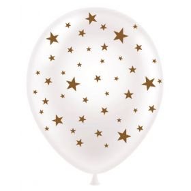 11 inch Stars All-Around White Latex Balloons - 50 count