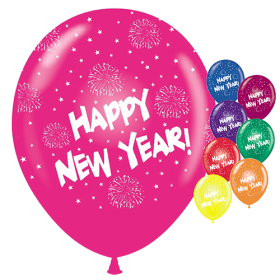 11 inch Happy New Year All-Around-Crystal Assorted Latex Balloons - 50 count