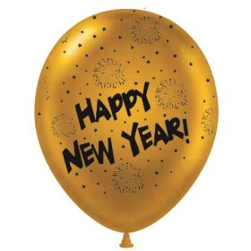 11 inch Happy New Year All-Around Gold Latex Balloons - 50 count