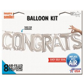 16 inch Silver CONGRATS Letter Balloon Kit - AIR FILL