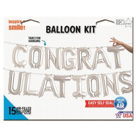 16 inch Silver CONGRATULATIONS Letter Balloon Kit - AIR FILL
