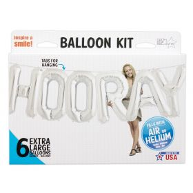34 inch HOORAY Silver Letter Balloon Kit