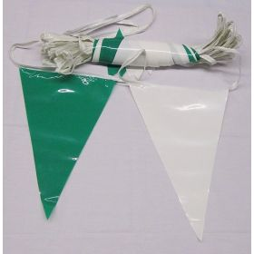 105 Foot Green & White Pennant String