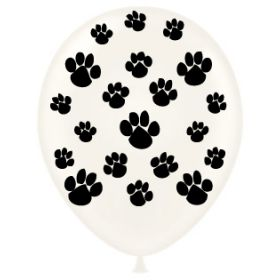 11 inch Tuf-Tex Paw Prints All Around Latex Balloons - 50 count