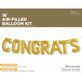 16 inch Gold CONGRATS Letter Balloon Kit - AIR FILL