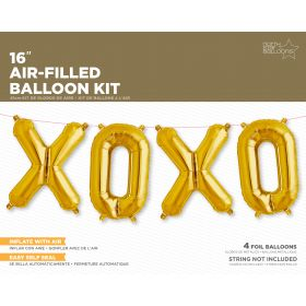 16 inch Gold XOXO Letter Balloon Kit - AIR FILL