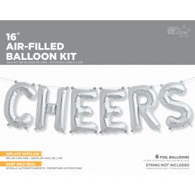16 inch Silver CHEERS Letter Balloon Kit - AIR FILL