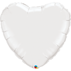 Qualatex White 36 inch Heart Foil Balloons