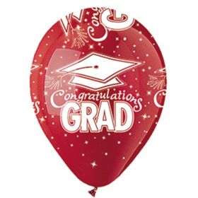 12 inch CTI Congratulations GRAD Red Latex Balloons - 50 count