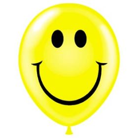 11 inch Tuf-Tex Smiley Face 2 Sided Latex Balloons - 100 count