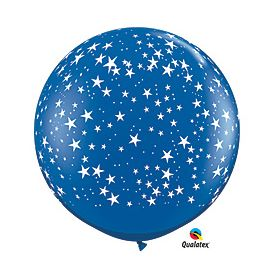 Qualatex Stars Around Sapphire Blue 36 inch Latex Balloons - 2 count