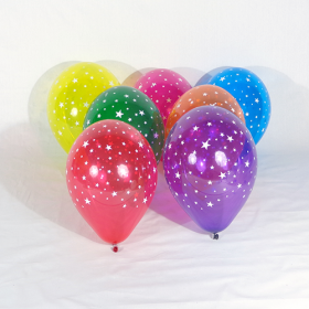11 inch Stars All-Around-Crystal Assorted Latex Balloons - 50 count