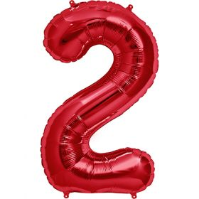 34 inch Red Number 2 Foil Mylar Balloon