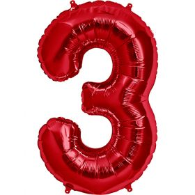 34 inch Red Number 3 Foil Mylar Balloon