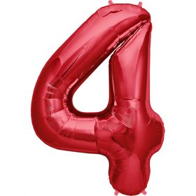 34 inch Red Number 4 Foil Mylar Balloon