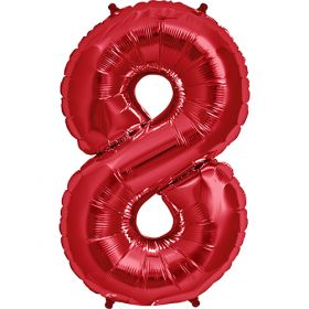 34 inch Red Number 8 Foil Mylar Balloon
