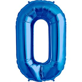 34 inch Blue Number 0 Foil Mylar Balloon