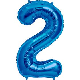 34 inch Blue Number 2 Foil Mylar Balloon