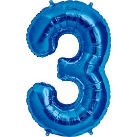 34 inch Blue Number 3 Foil Mylar Balloon