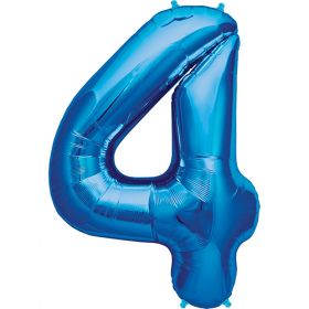 34 inch Blue Number 4 Foil Mylar Balloon