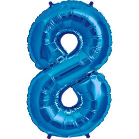 34 inch Blue Number 8 Foil Mylar Balloon