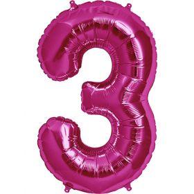 34 inch Magenta Number 3 Foil Mylar Balloon