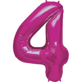 34 inch Magenta Number 4 Foil Mylar Balloon