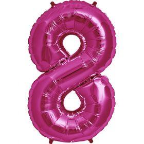 34 inch Magenta Number 8 Foil Mylar Balloon