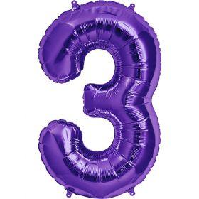 34 inch Purple Number 3 Foil Mylar Balloon