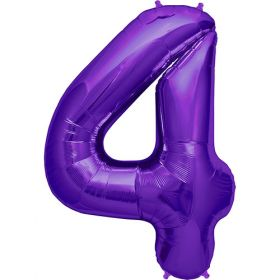 34 inch Purple Number 4 Foil Mylar Balloon