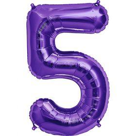 34 inch Purple Number 5 Foil Mylar Balloon