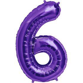 34 inch Purple Number 6 Foil Mylar Balloon