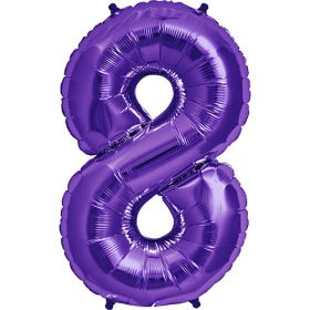 34 inch Purple Number 8 Foil Mylar Balloon