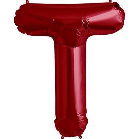 34 inch Red Letter T Foil Mylar Balloon