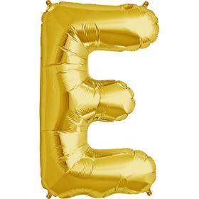 34 inch Gold Letter E Foil Mylar Balloon