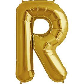 34 inch Gold Letter R Foil Mylar Balloon
