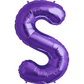 34 inch Purple Letter S Foil Mylar Balloon