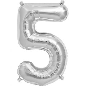16 inch Silver Number 5 Foil Mylar Balloon