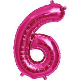 16 inch Magenta Number 6 Foil Mylar Balloon