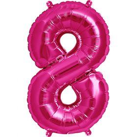 16 inch Magenta Number 8 Foil Mylar Balloon