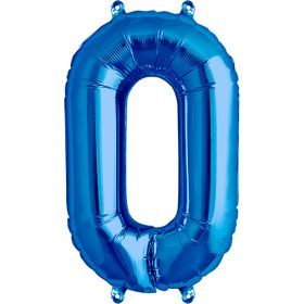 16 inch Blue Number 0 Foil Mylar Balloon