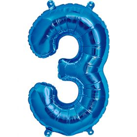 16 inch Blue Number 3 Foil Mylar Balloon