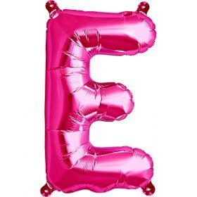 16 inch Magenta Letter E Foil Mylar Balloon