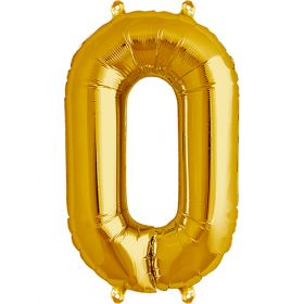 16 inch Gold Number 0 Foil Mylar Balloon