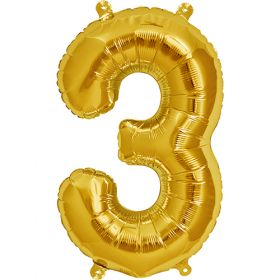 16 inch Gold Number 3 Foil Mylar Balloon
