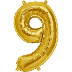 16 inch Gold Number 9 Foil Mylar Balloon